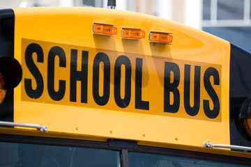 school bus close up shot
