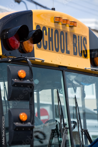school bus close up shot