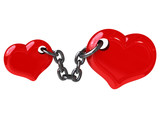 Two hearts fixed by chain (Can be used for a printing or web) poster