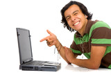 casual man happy downloading online music for mp3 player  poster