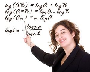 female maths teacher - isolated over a white background