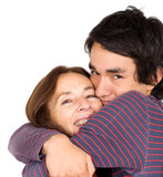 mother and son showing affection over a white background poster