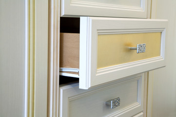 Modern white cabinet with drawers and handles