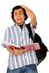 angry male student had a bad grade on his work isolated