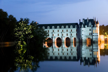 Night illumination at Chateau Chenonceau, Loire Valley, France