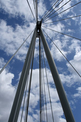looking up at a cable-stayed bridge