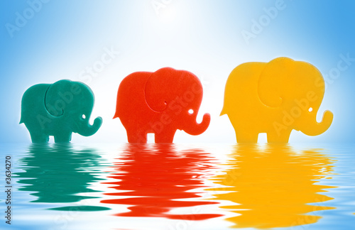 child toy elephant family in water