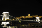 Budapest chain bridge at night poster