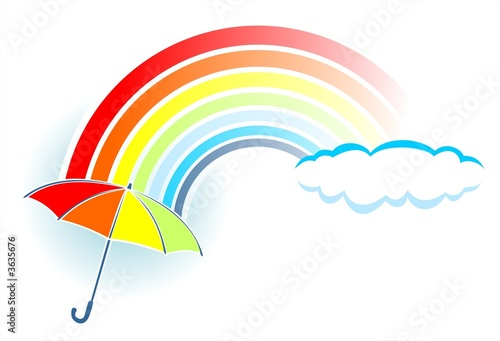 Rainbow and umbrella