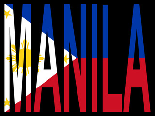 city of Manila with Filipino flag
