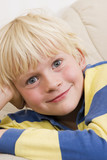 Blond little boy smiling