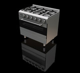 3D render of a gas oven on a black background poster