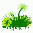 trendy grunge vector floral with palmtrees design