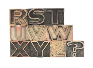 old wood outline letters R-Z plus question mark