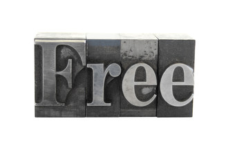 the word 'Free' in old, inkstained metal type