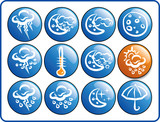 Blue & Orange Weaher Glossy Icons hand drawing poster