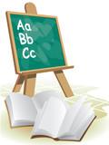 Two open blank books in front of blackboard. poster