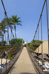 Suspension Bridge to Beach on Big Island, Kona, Hawaii