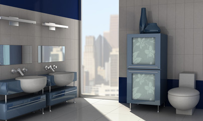 3D rendering of a modern bathroom with in blue colors.
