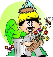 trabalhador ajudando a Natureza