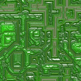 Green colored closeup of computer chips on integrated circuit poster