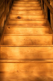 Bare wood stairway (bottom point of view) poster