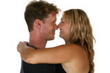 Caucasian couple give a happy hug and smile poster