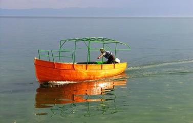 boat at ohrid lake