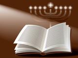 Jewish holiday: menorah, book and sunshine poster