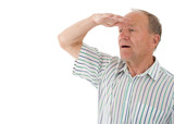 Aged man looks in a distance. White background poster