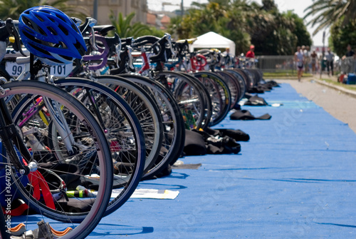 Group of Bikes' wheels in a row  in a triathlon competition. - 3647827