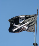 Pirate flag with skull and bones poster