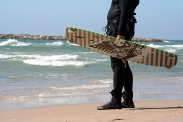 kiteboarder on the beach