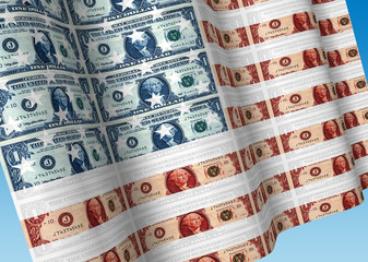 Close-up of wavy American flag made of dollar bills