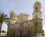 Famous cathedral in Cadiz. Frontal view poster