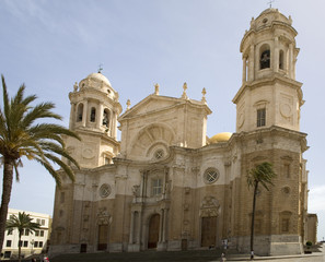 Famous cathedral in Cadiz. Frontal view