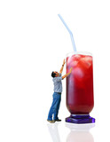 Thirsty man trying to reach a giant  glass with cold drink. poster