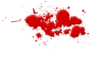 Illustration of blood splashes and stains over white background.