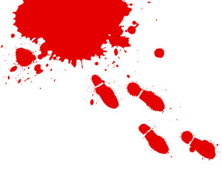 Blood splashes and foot prints on white background.