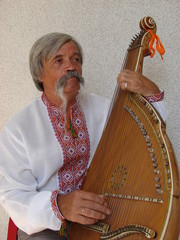 Senior ukrainian musician with bandura 9