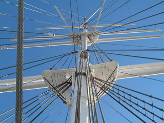 the rigging of the sailing ship