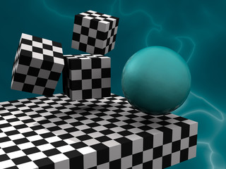 3D fantasy abstract with cubes like cheesboard and sphere