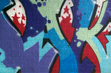 Colorful Graffiti spray painted on a brick wall. poster