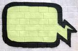 Graffiti thought bubble sprayed on a brick wall. poster