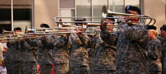 Military band marching in a parade