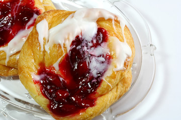 Cherry Danishes on white