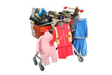 The handcart with clothes and footwear on a white background poster