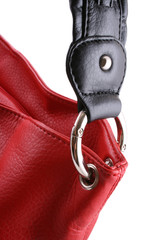 close-ups of red handbag isolated on white