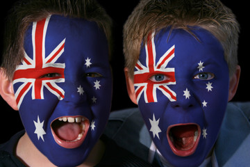 Young Australian Football/Rugby Fans