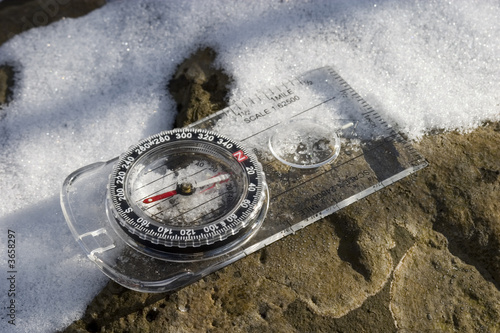 hiking compass after a winter storm